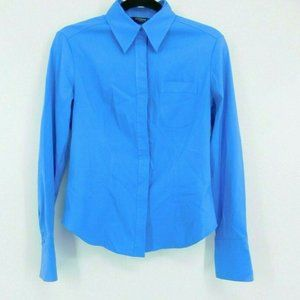 Express Blue Button Down Shirt Fitted Long Sleeve